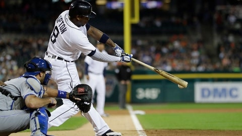 FILE - In this Sept. 23, 2016, file photo, Detroit Tigers' Justin Upton (8) connects for an RBI-double to left field during the first inning of a baseball game against the Kansas City Royals in Detroit. Upton will be a big part of the team's plans this season as long as they are healthy. (AP Photo/Carlos Osorio, File)