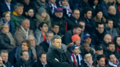Barcelona's head coach Luis Enrique reacts during the Champions League first leg knockout round match Paris Saint Germain against Barcelona, at the Parc des Princes stadium in Paris, Tuesday, Feb. 14, 2017. (AP Photo/Michel Euler)