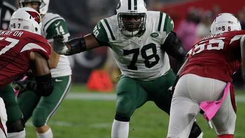 New York Jets tackle Ryan Clady (78) during an NFL football game against the Arizona Cardinals, Monday, Oct. 17, 2016, in Glendale, Ariz. (AP Photo/Rick Scuteri)