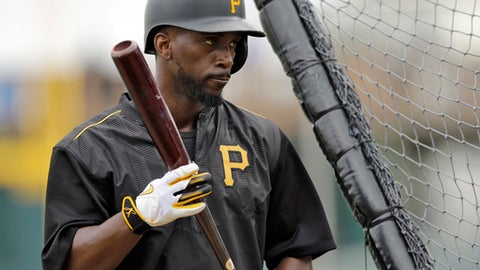 FILE - In this March 2, 2016, file photo, Pittsburgh Pirates' Andrew McCutchen prepares to take batting practice before a spring training baseball game against the Detroit Tigers, in Bradenton, Fla. McCutchen arrived at spring training still a member of the Pittsburgh Pirates following an eventful offseason in which the club shopped the five-time All-Star.  (AP Photo/Chris O'Meara, File)