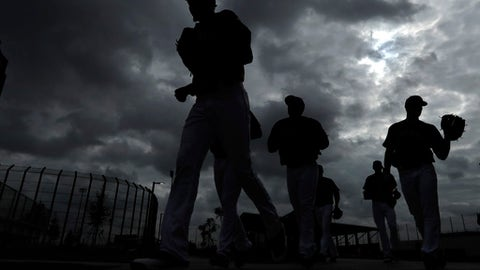 Houston Astros players make their way to a practice field during a spring training baseball workout Thursday, Feb. 16, 2017, in West Palm Beach, Fla. (AP Photo/David J. Phillip)
