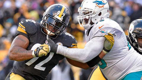 Pittsburgh Steelers outside linebacker James Harrison (92) works to get around Miami Dolphins offensive tackle Branden Albert (76) during the second half of an AFC Wild Card NFL football game in Pittsburgh, Sunday, Jan. 8, 2017. The Steelers won 30-12. (AP Photo/Don Wright)