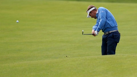 Billy Hurley III hits from the fairway of the eighth hole during the first round of the Genesis Open golf tournament at Riviera Country Club, Thursday, Feb. 16, 2017, in the Pacific Palisades area of Los Angeles. (AP Photo/Ryan Kang)