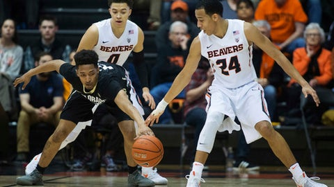 Colorado's Dominique Collier, left, reaches for the ball while being guarded by Oregon State's JaQuori McLaughlin (0) and Kendal Manuel (24) during the first half of an NCAA college basketball game in Corvallis, Ore., Thursday, Feb. 16, 2017. (AP Photo/Timothy J. Gonzalez)