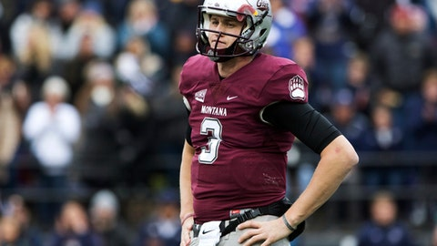 FILE - In this Saturday, Oct. 19, 2016, file photo, Montana quarterback Brady Gustafson (3) looks to the sideline after throwing an incomplete pass in the second half of an NCAA college football game against Montana State, in Missoula, Mont. Gustafson and East Carolina's Philip Nelson are the other quarterbacks in this year's draft. Both have potential to be surprises and enjoy successful careers in the NFL. (AP Photo/Patrick Record, File)