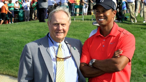 Tiger Woods on the ceremonial tee with Jack Nicklaus and Gary Player