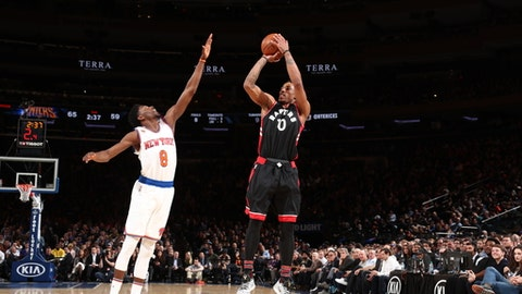 NEW YORK, NY - FEBRUARY 27: DeMar DeRozan #10 of the Toronto Raptors shoots the ball against the New York Knicks   on February 27, 2017 at Madison Square Garden in New York City.  NOTE TO USER: User expressly acknowledges and agrees that, by downloading and or using this photograph, User is consenting to the terms and conditions of the Getty Images License Agreement. Mandatory Copyright Notice: Copyright 2016 NBAE  (Photo by Nathaniel S. Butler/NBAE via Getty Images)