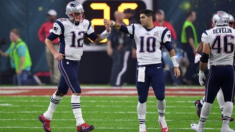 Keep Brady around in 2018 and give Garoppolo the franchise tag, paying him $20 million to be a backup