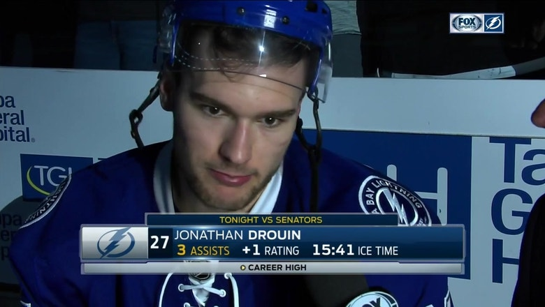 Jonathan Drouin reacts to win after recording first 3-assist game of career