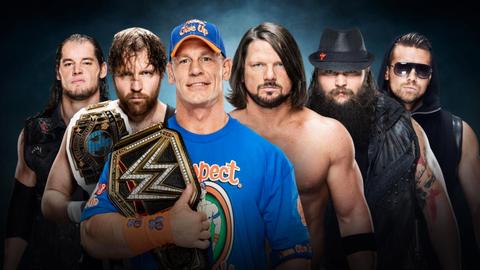 John Cena vs. Dean Ambrose vs. Baron Corbin vs. AJ Styles vs. The Miz vs. Bray Wyatt in an Elimination Chamber match for the WWE World Championship