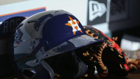 May 29, 2015; Houston, TX, USA; General view of a Houston Astros helmet and glove before a game against the Chicago White Sox at Minute Maid Park. Mandatory Credit: Troy Taormina-USA TODAY Sports