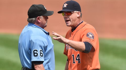 Sep 8, 2016; Cleveland, OH, USA; Houston Astros manager A.J. Hinch (14) talks with home plate umpire Jim Joyce (66) in the third inning against the Cleveland Indians at Progressive Field. Mandatory Credit: David Richard-USA TODAY Sports