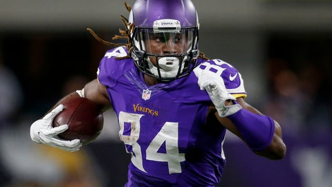Oct 3, 2016; Minneapolis, MN, USA; Minnesota Vikings wide receiver Cordarrelle Patterson (84) catches a pass against the New York Giants in the third quarter at U.S. Bank Stadium. The Vikings win 24-10. Mandatory Credit: Bruce Kluckhohn-USA TODAY Sports
