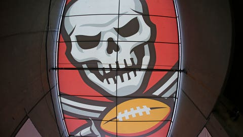 Nov 13, 2016; Tampa, FL, USA; A view of the Tampa Bay Buccaneers logo on the player tunnel's cover at Raymond James Stadium. The Buccaneers won 36-10. Mandatory Credit: Aaron Doster-USA TODAY Sports