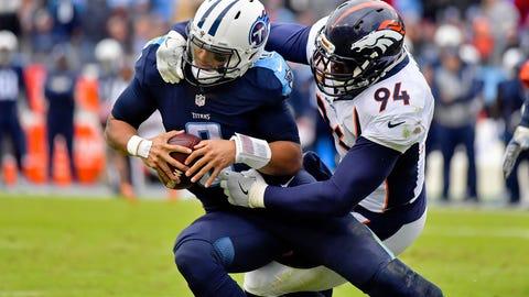 Dec 11, 2016; Nashville, TN, USA; Denver Broncos outside linebacker DeMarcus Ware (94) sacks Tennessee Titans quarterback Marcus Mariota (8) during the second half at Nissan Stadium. Tennessee won 13-10. Mandatory Credit: Jim Brown-USA TODAY Sports