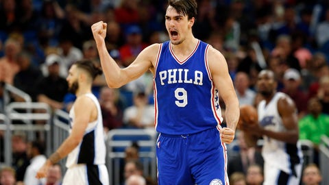 Feb 9, 2017; Orlando, FL, USA; Philadelphia 76ers forward Dario Saric (9) reacts after he made a shot in the fourth quarter against the Orlando Magic at Amway Center. Philadelphia 76ers defeated the Orlando Magic 112-111. Mandatory Credit: Kim Klement-USA TODAY Sports
