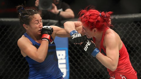 Feb 19, 2017; Halifax, NS, Canada; Carla Esparza (red gloves) fights Randa Markos (blue gloves) during UFC Fight Night at Scotiabank Centre. Mandatory Credit: Tom Szczerbowski-USA TODAY Sports