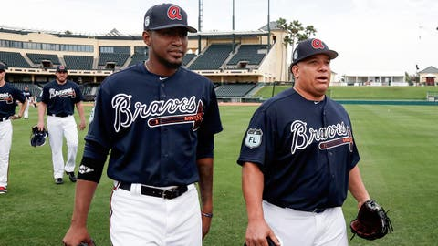 Feb 15, 2017; Lake Buena Vista, FL, USA; Atlanta Braves starting pitcher Bartolo Colon (right) and starting pitcher Julio Teheran (left) during MLB spring training workouts at Champion Stadium. Mandatory Credit: Reinhold Matay-USA TODAY Sports