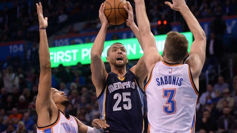 Feb 3, 2017; Oklahoma City, OK, USA; Memphis Grizzlies forward Chandler Parsons (25) prepares to shoot the ball between Oklahoma City Thunder forward Andre Roberson (21) and forward Domantas Sabonis (3) during the first quarter at Chesapeake Energy Arena. Mandatory Credit: Mark D. Smith-USA TODAY Sports