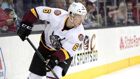 CLEVELAND, OH - JANUARY 26: Chicago Wolves D Vince Dunn (6) during the second period of the AHL hockey game between the Chicago Wolves and and Cleveland Monsters on January 26, 2017, at Quicken Loans Arena in Cleveland, OH. Chicago defeated Cleveland 4-2. (Photo by Frank Jansky/Icon Sportswire via Getty Images)