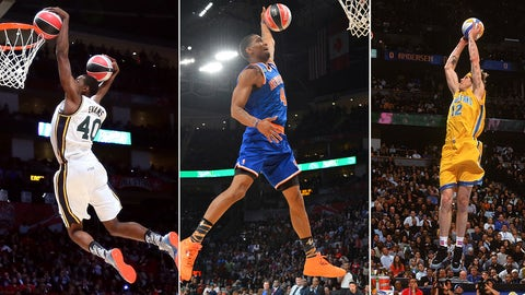 HOUSTON, TX - FEBRUARY 16:  Jeremy Evans of the Utah Jazz dunks two basketballs in the second round during the Sprite Slam Dunk Contest part of 2013 NBA All-Star Weekend at the Toyota Center on February 16, 2013 in Houston, Texas. NOTE TO USER: User expressly acknowledges and agrees that, by downloading and or using this photograph, User is consenting to the terms and conditions of the Getty Images License Agreement.  (Photo by Ronald Martinez/Getty Images)