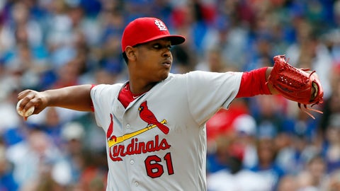 St. Louis Cardinals starter Alex Reyes throws against the Chicago Cubs during the first inning of a baseball game Saturday, Sept. 24, 2016, in Chicago. (AP Photo/Nam Y. Huh)