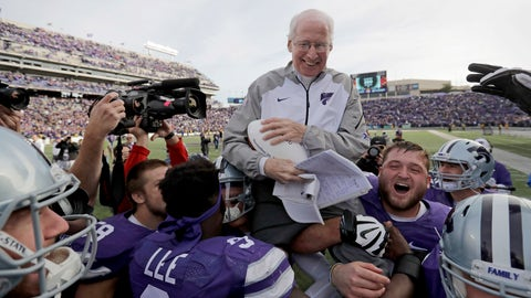 Kansas State head coach Bill Snyder is carried off the field after getting his 200th career coaching win after beating Kansas 34-19 in an NCAA college football game Saturday, Nov. 26, 2016, in Manhattan, Kan. (AP Photo/Charlie Riedel)