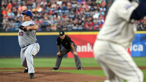 Sep 10, 2016; Atlanta, GA, USA; New York Mets starting pitcher Bartolo Colon (40) pitches to Atlanta Braves third baseman Adonis Garcia (13) during the first inning at Turner Field. Mandatory Credit: Shanna Lockwood-USA TODAY Sports