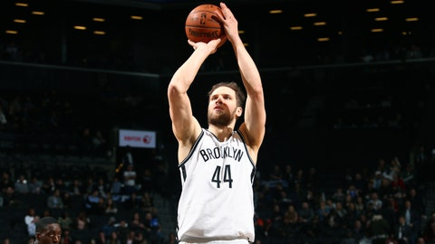 BROOKLYN, NY - FEBRUARY 15: Bojan Bogdanovic #44 of the Brooklyn Nets shoots a free throw during the game against the Milwaukee Bucks on February 15, 2017 at Barclays Center in Brooklyn, New York. NOTE TO USER: User expressly acknowledges and agrees that, by downloading and or using this Photograph, user is consenting to the terms and conditions of the Getty Images License Agreement. Mandatory Copyright Notice: Copyright 2017 NBAE (Photo by Ned Dishman/NBAE via Getty Images)