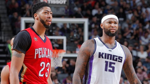 SACRAMENTO, CA - NOVEMBER 8: Anthony Davis #23 of the New Orleans Pelicans faces off against DeMarcus Cousins #15 of the Sacramento Kings on November 8, 2016 at Golden 1 Center in Sacramento, California. NOTE TO USER: User expressly acknowledges and agrees that, by downloading and or using this photograph, User is consenting to the terms and conditions of the Getty Images Agreement. Mandatory Copyright Notice: Copyright 2016 NBAE (Photo by Rocky Widner/NBAE via Getty Images)