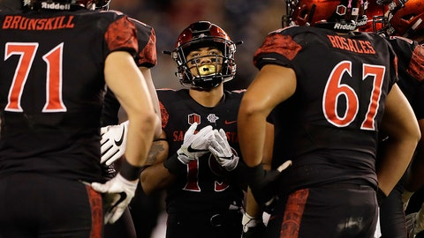San Diego State running back Donnel Pumphrey, center, looks on in a huddle during the first half of an NCAA college football game against San Jose State Friday, Oct. 21, 2016, in San Diego. (AP Photo/Gregory Bull)