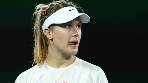 MELBOURNE, AUSTRALIA - JANUARY 20:  Eugenie Bouchard of Canada looks on in her third round match against Coco Vandeweghe of the United States on day five of the 2017 Australian Open at Melbourne Park on January 20, 2017 in Melbourne, Australia.  (Photo by Cameron Spencer/Getty Images)