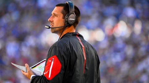 EAST RUTHERFORD, NJ - SEPTEMBER 20: Atlanta Falcons offensive coordinator Kyle Shanahan looks on during a game against the New York Giants at MetLife Stadium on September 20, 2015 in East Rutherford, New Jersey.  (Photo by Alex Goodlett/Getty Images)