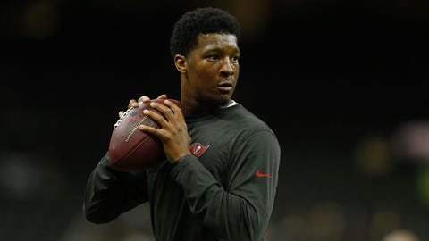 NEW ORLEANS, LA - DECEMBER 24:  Jameis Winston #3 of the Tampa Bay Buccaneers warms up before a game against the New Orleans Saints at the Mercedes-Benz Superdome on December 24, 2016 in New Orleans, Louisiana.  (Photo by Jonathan Bachman/Getty Images)