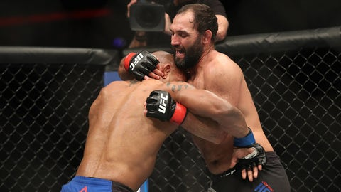 Feb 19, 2017; Halifax, NS, Canada; Johny Hendricks (red gloves) fights Hector Lombard (blue gloves) during UFC Fight Night at Scotiabank Centre. Mandatory Credit: Tom Szczerbowski-USA TODAY Sports