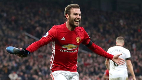 Manchester United's Juan Mata celebrates scoring his side's first goal of the game, during the English  Premier League soccer match between Manchester United and Watford, at Old Trafford, in Manchester, England, Saturday, Feb. 11, 2017. (Nick Potts/PA via AP)