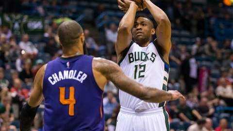 Mar 30, 2016; Milwaukee, WI, USA; Milwaukee Bucks forward Jabari Parker (12) during the game against the Phoenix Suns at BMO Harris Bradley Center.  Milwaukee won 105-94.  Mandatory Credit: Jeff Hanisch-USA TODAY Sports