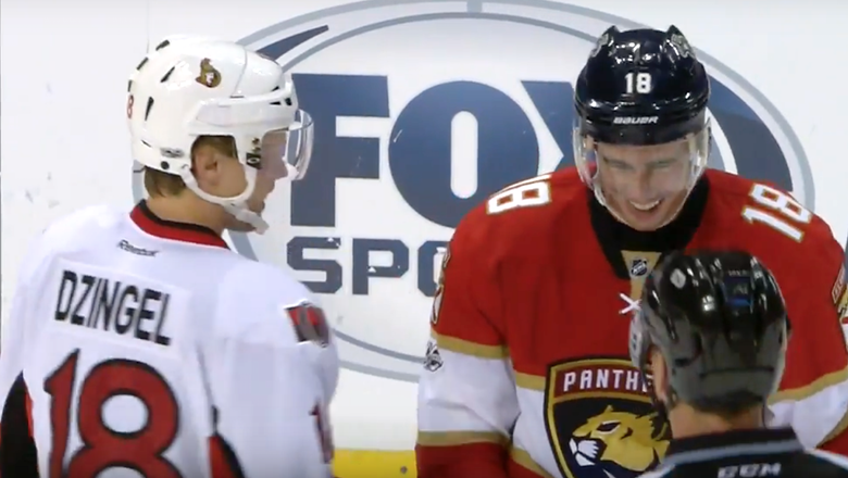 Two NHL players shared a good laugh seconds before fighting each other