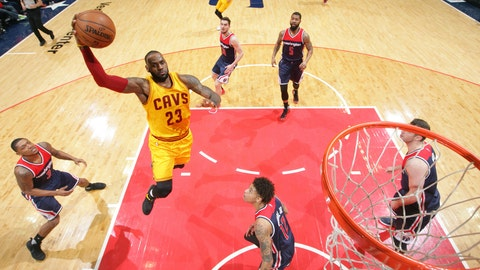 WASHINGTON, DC -FEBRUARY 6:  LeBron James #23 of the Cleveland Cavaliers shoots the ball against the Washington Wizards during the game on February 6, 2017 at Verizon Center in Washington, DC. NOTE TO USER: User expressly acknowledges and agrees that, by downloading and or using this Photograph, user is consenting to the terms and conditions of the Getty Images License Agreement. Mandatory Copyright Notice: Copyright 2017 NBAE (Photo by Ned Dishman/NBAE via Getty Images)