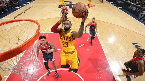 WASHINGTON, DC - FEBRUARY 6:  LeBron James #23 of the Cleveland Cavaliers shoots the ball against the Washington Wizards during the game on February 6, 2017 at Verizon Center in Washington, DC. NOTE TO USER: User expressly acknowledges and agrees that, by downloading and or using this Photograph, user is consenting to the terms and conditions of the Getty Images License Agreement. Mandatory Copyright Notice: Copyright 2017 NBAE (Photo by Ned Dishman/NBAE via Getty Images)