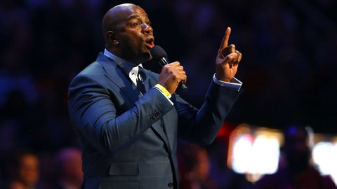 "TORONTO, ON - FEBRUARY 14: Earvin ""Magic"" Johnson speaks about Kobe Bryant of the Los Angeles Lakers and Western Conference before the NBA All-Star Game 2016 at the Air Canada Centre on February 14, 2016 in Toronto, Ontario. NOTE TO USER: User expressly acknowledges and agrees that, by downloading and/or using this Photograph, user is consenting to the terms and conditions of the Getty Images License Agreement.  (Photo by Elsa/Getty Images)"