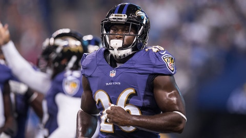 August 20, 2016: Baltimore Ravens safety Matt Elam (26) during the NFL preseason week 2 game between the Baltimore Ravens and Indianapolis Colts at Lucas Oil Stadium in Indianapolis, IN.  (Photo by Zach Bolinger/Icon Sportswire via Getty Images)