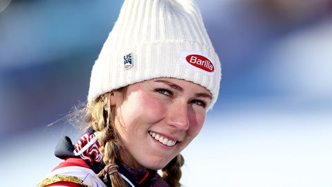 ST MORITZ, SWITZERLAND - FEBRUARY 18:  Mikaela Shiffrin of The United States looks on after winning gold in the Women's Slalom during the FIS Alpine World Ski Championships on February 18, 2017 in St Moritz, Switzerland.  (Photo by Alexander Hassenstein/Getty Images)
