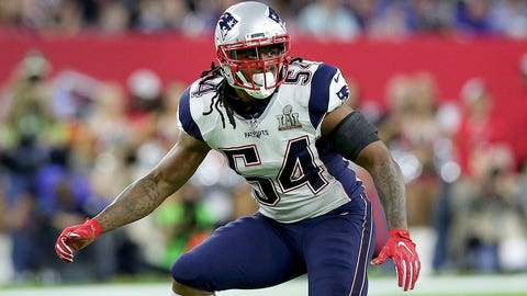New England Patriots Dont'a Hightower #54 in action against the Atlanta Falcons at Super Bowl 51 on Sunday, February 5, 2017 in Houston, TX. (AP Photo/Gregory Payan)