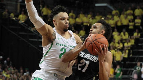 Feb 18, 2017; Eugene, OR, USA; Oregon Ducks forward Dillon Brooks (24) defends against Colorado Buffaloes guard Derrick White (21) in the second half at Matthew Knight Arena. Mandatory Credit: Scott Olmos-USA TODAY Sports