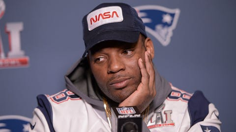 New England Patriots tight end Martellus Bennett during a press conference ahead of Super Bowl LI held at JW Marriott Galleria in Houston, Texas on February 1, 2017. (Photo by Anthony Behar) *** Please Use Credit from Credit Field ***(Sipa via AP Images)