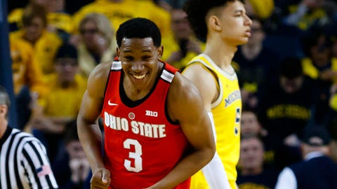 Feb 4, 2017; Ann Arbor, MI, USA; Ohio State Buckeyes guard C.J. Jackson (3) celebrate after the game against the Michigan Wolverines at Crisler Center. Ohio State won 70-66. Mandatory Credit: Rick Osentoski-USA TODAY Sports