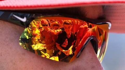 Fans reflected in Matt Carpenter's sunglasses