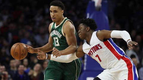 Malcolm Brogdon and his Milwaukee Bucks defeated the Pistons 119-94 on Dec. 28.	 Leon Halip-USA TODAY Sports