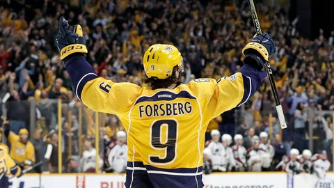 Nashville Predators left wing Filip Forsberg, of Sweden, celebrates after scoring his third goal against the Colorado Avalanche during the third period of an NHL hockey game Thursday, Feb. 23, 2017, in Nashville, Tenn. The Predators won 4-2. Forsberg scored his second straight hat trick. (AP Photo/Mark Humphrey)